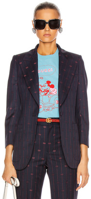 Gucci GG Pinstripe Jacket in Blue & Red | FWRD