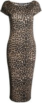 Fashion Box Womens Cap Sleeves Leopard Printed Bodycon Midi Dress