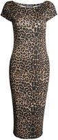 Fashion Box Womens Cap Sleeves Leopard Rose Skull Printed Bodycon Midi Dress