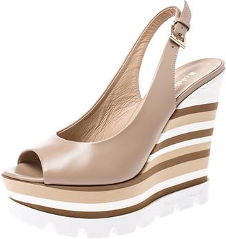 Baldinini Beige Leather Wedge Peep Toe Slingback Sandals Size 38.5