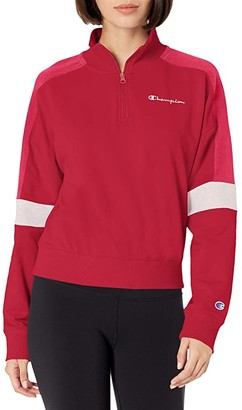 Champion Campus 1/4 Zip w/ Taping (Oxford Gray) Women's Clothing