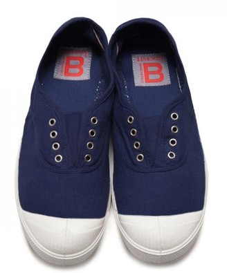 Bensimon Navy Elly Plimsoll Shoes - Size 37 Uk4 - Blue/White/Pink