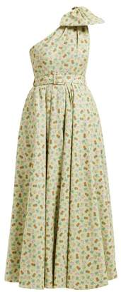 Alessandra Rich Belted Pineapple Print Cotton Blend Gown - Womens - Green Multi