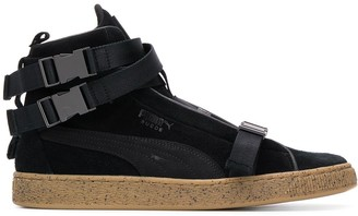Puma buckled hi-top sneakers