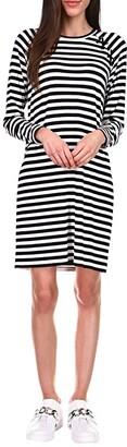 MICHAEL Michael Kors Stripe Lace-Up Long Sleeve Dress (Black/White) Women's Dress