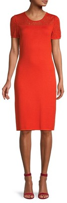 St. John Contrast Knit Sheath Dress