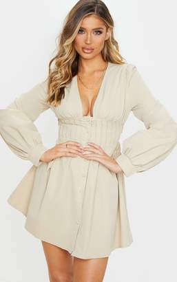 PrettyLittleThing Stone Button Front Fitted Puff Sleeve Skater Dress
