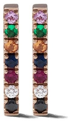 Ef Collection 14kt rose gold diamond rainbow bar stud earrings