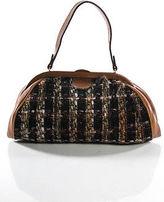 Saks Fifth Avenue Brown Leather Tweed Body Small Satchel Handbag