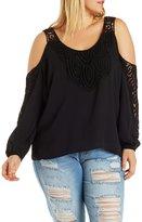 Charlotte Russe Plus Size Cold Shoulder Crochet Top