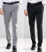 Asos 2 Pack Skinny Smart Trousers In Black And Grey