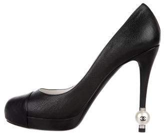 Chanel Leather Cap-Toe Pumps w/ Tags