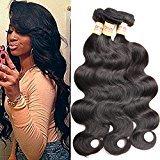 Connie Hair Peruvian Body Wave 3 Bundles Grade 5A Unprocessed Virgin Human Hair Weave Weft Mixed Length(14 16 18) Natural Black Total 300g