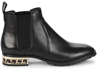 Karl Lagerfeld Paris Simone Chain-Trim Leather Chelsea Boots