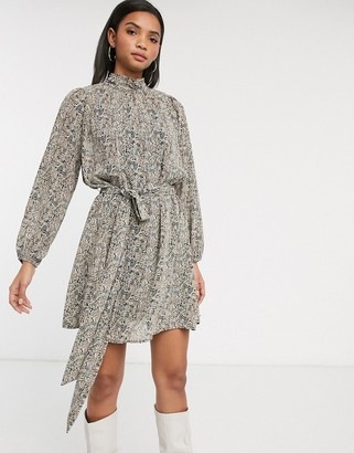 Vero Moda Aware high neck balloon sleeve mini dress in paisley print