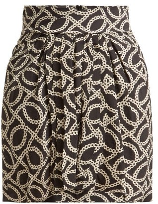 Isabel Marant Hemen Cog-print Silk-blend Mini Skirt - Womens - Black White