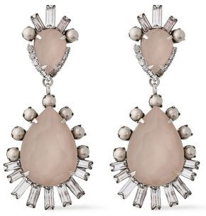 Elizabeth Cole Silver-tone, Swarovski Crystal And Faux Pearl Earrings