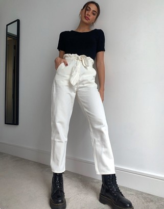 And other stories & belted tapered jean in off white