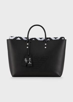 Emporio Armani Bonded Leather Shopper With Fretwork Maxi Logo