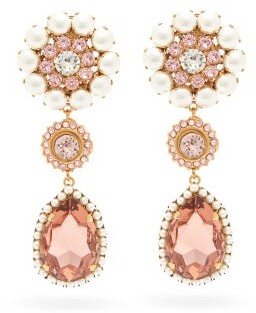 Dolce & Gabbana Crystal-embellished Floral Clip Earrings - Crystal
