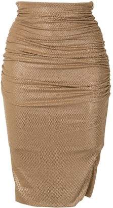 Alexandre Vauthier Crystal Ruched Pencil Skirt