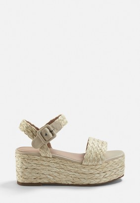 Missguided Beige Jute Sole Wedges