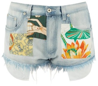 Loewe Paula's Ibiza - Frayed-hem Patched Denim Shorts - Light Blue