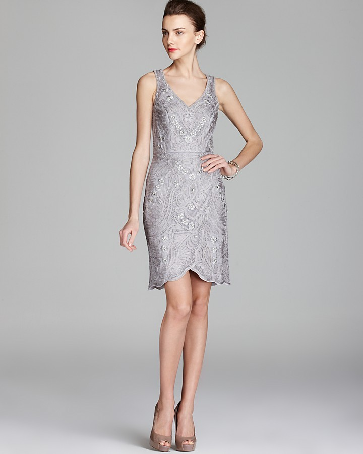 Sue Wong Embroidered Dress - V Neck