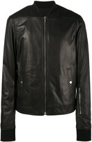 Rick Owens leather bomber jacket - men - Cotton/Lamb Skin/Cupro/Wool - 46