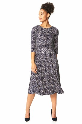 Roman Originals Women Fit and Flare Zig Zag Print Midi Dress - Ladies Everyday Smart Casual Work Office Round Neck 3/4 Sleeve Gathered Waist Stretch Jersey A-Line Day - Navy - Size 10