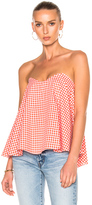 Caroline Constas Coco Bustier Top in Checkered & Plaid,Orange,Red,White.