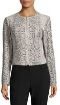Elie Tahari Janet Python-Embossed Leather Jacket