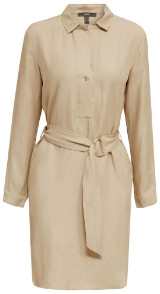 Esprit Beige Blended Linen Shirt Dress with Belt - 36