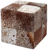 Massoud Furniture Mae Cube Ottoman - Brown Hide