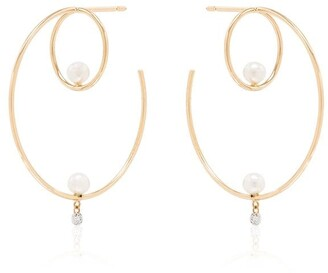 PERSÉE 18kt Yellow Gold Creole Cluster Earrings