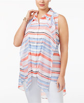 NY Collection Plus Size Striped Ruffled Shirt