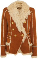 Balmain Double-breasted Shearling-trimmed Suede Jacket - Tan