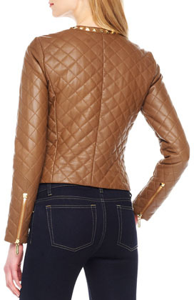MICHAEL Michael Kors Stud-Trim Quilted Leather Jacket