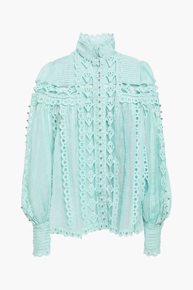 Zimmermann Moncur Studded Paneled Broderie Anglaise Cotton Blouse