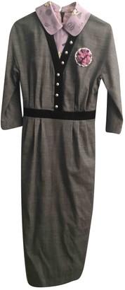 Olympia Le-Tan Olympia Le Tan Grey Wool Dress for Women