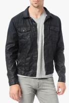 7 For All Mankind Moto Jacket In Black Coated Indigo