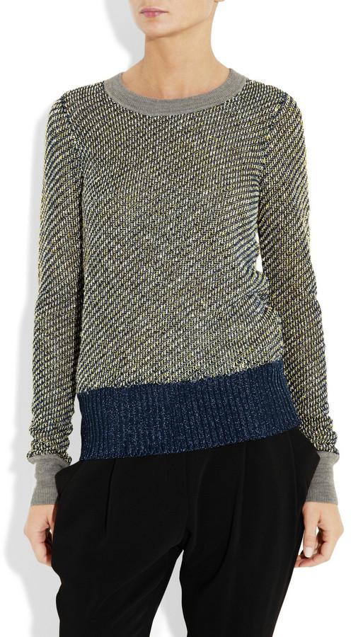Alexander Wang Metallic bouclé and mesh sweater