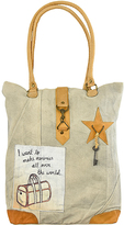Vintage Addiction Tan Making Memories Canvas Tote