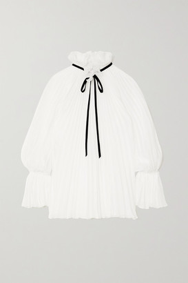 Philosophy di Lorenzo Serafini Tie-detailed Pleated Chiffon Blouse - White