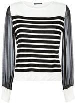 Alberta Ferretti sheer sleeves knitted blouse - women - Cotton/Silk - 44