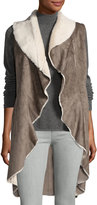 Neiman Marcus Faux-Shearling Open-Front Long Vest, Taupe