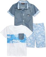 Nannette 3-Pc. T-Shirt, Shirt & Shorts Set, Toddler & Little Boys (2T-7)