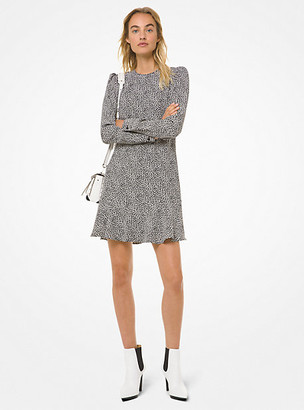 Michael Kors Mini Leopard Cady Flounce Dress
