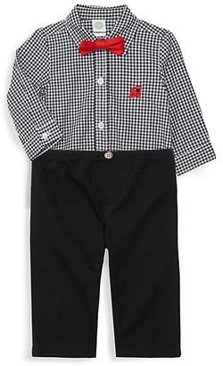Little Me Baby Boy's 2-Piece Gingham-Print Cotton Bodysuit, Pants Bow Tie Set