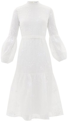 Erdem Sandra Floral-embroidered Lace Midi Dress - Womens - White